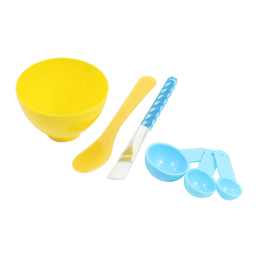 Lady 4 in 1 Facial Beauty Skin Care Make Up Comestic Plastic Mask Mixing Bowl Brush Gauge Spoon Yellow Set