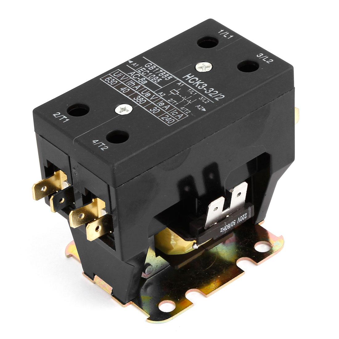 220V 630V Ui 40A Ith Coil 1PH Normal Open Air Conditioner Compressor Contactor