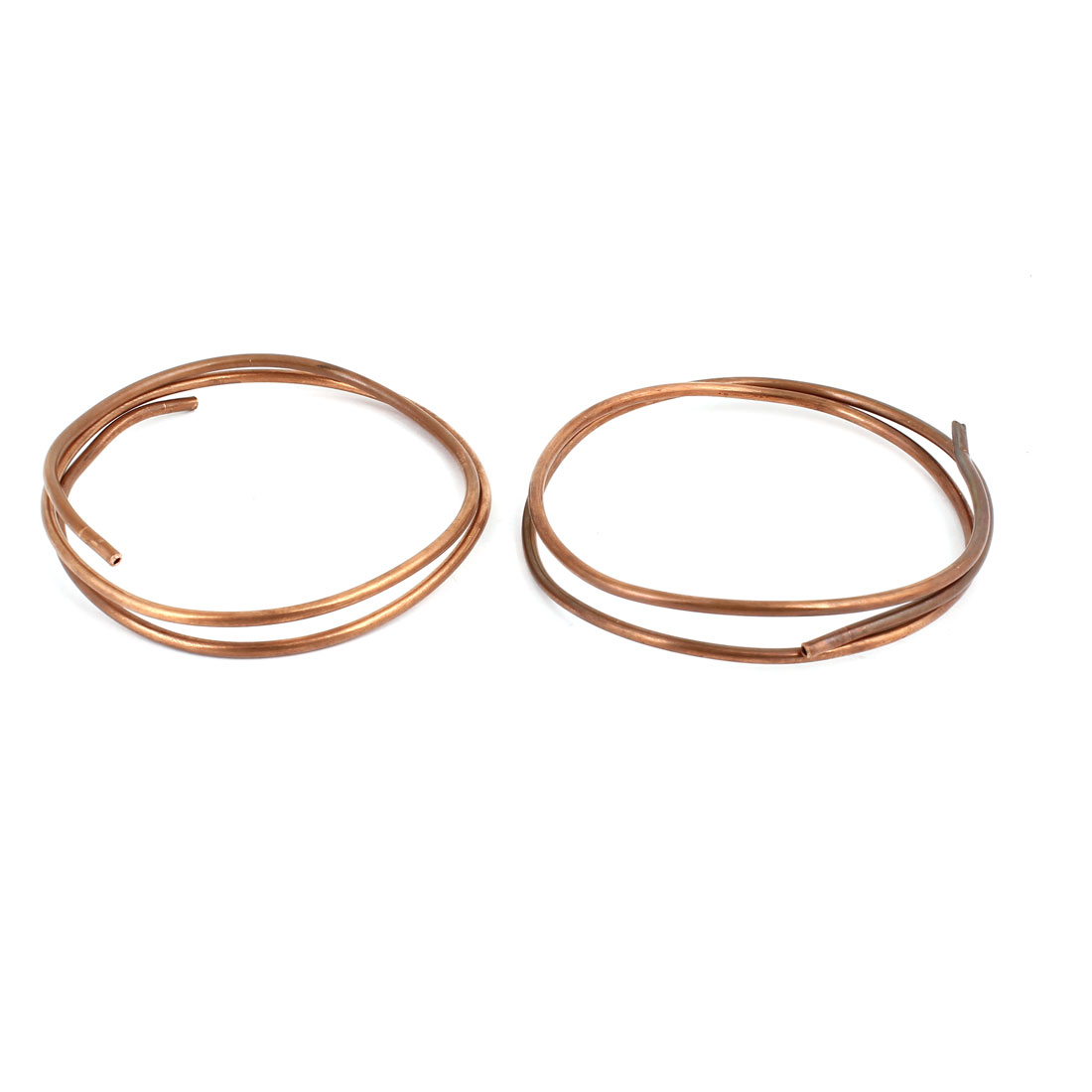 3.0mm Dia 0.6M 2Ft Length Copper Tone Refrigerator Refrigeration Tubing Coil 2 Pcs
