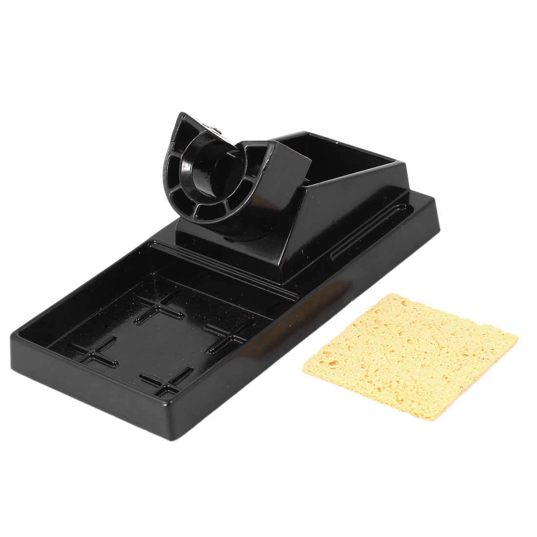 Black Aluminium 16.1 x 8cm Benchtop Base Stand Holder for Soldering Iron