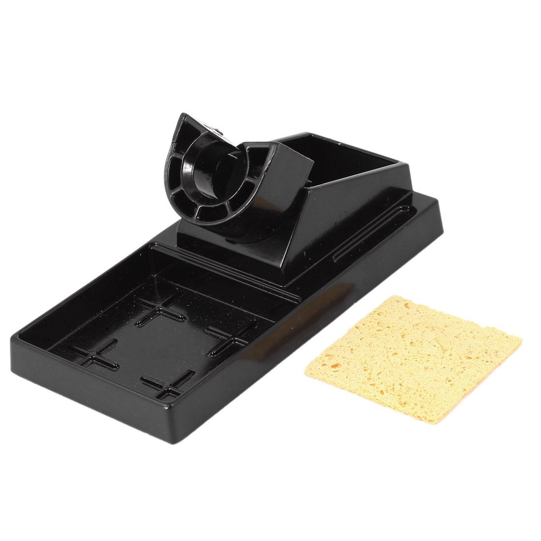 Black Aluminium 16.1 x 8cm Benchtop Base Stand Holder for Soldering Iron