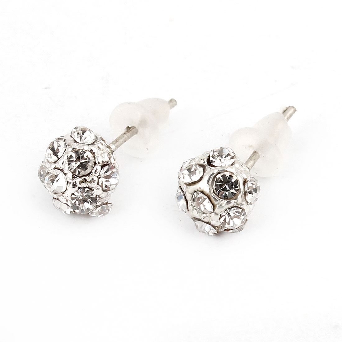 Pair Silver Tone Rhinestone Accent Round Stud Earrings for Ladies