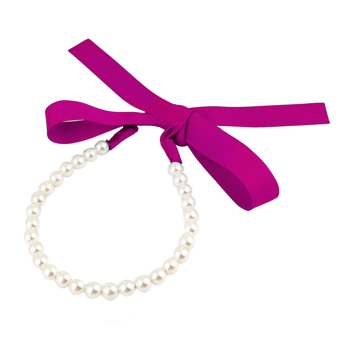 Lady Gift Faux Pearl Design Hair Hoop Hairband Headwear White Fuchsia