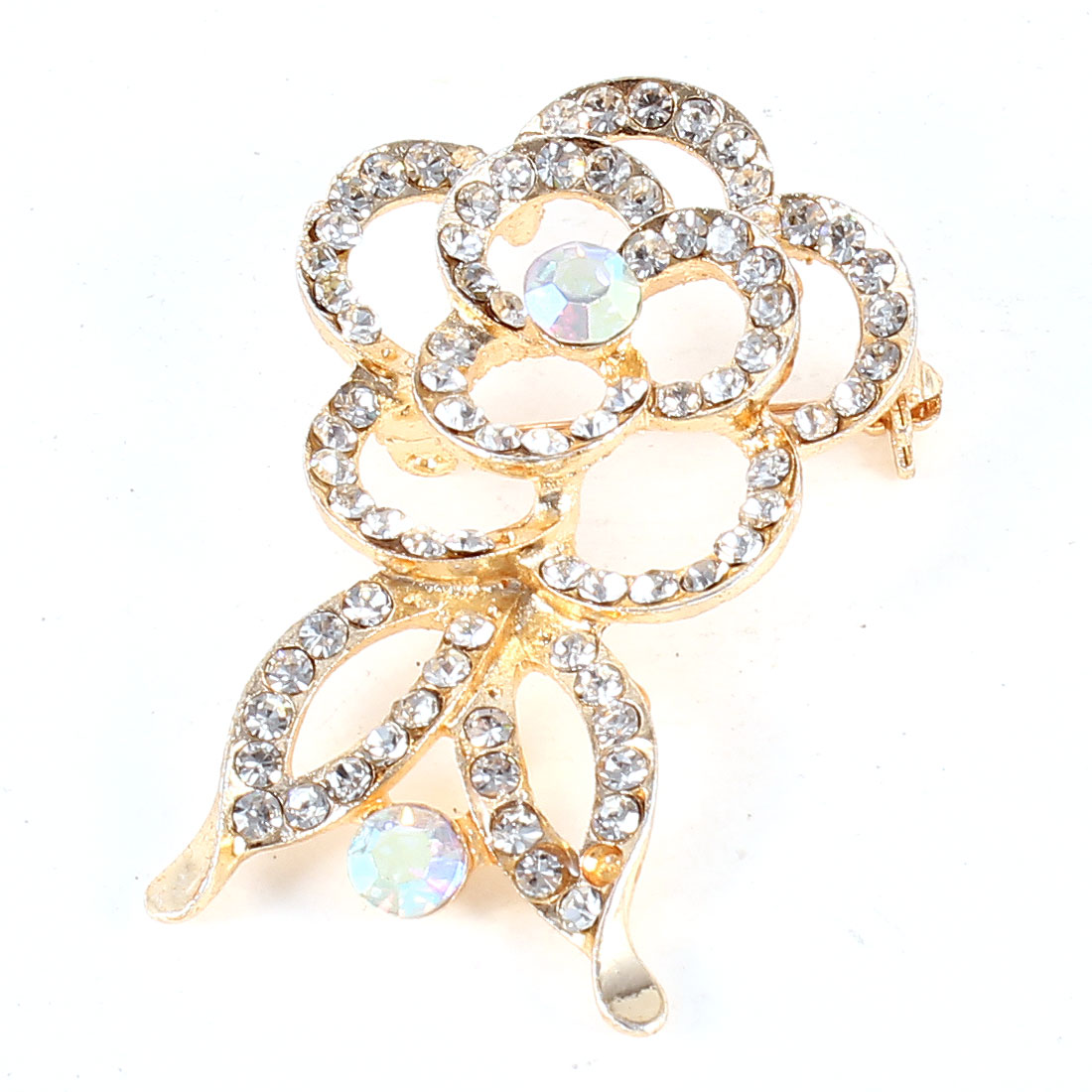 Glistening Rhinestone Decor Flower Shape Silver Tone Metal Safety Pin Brooch
