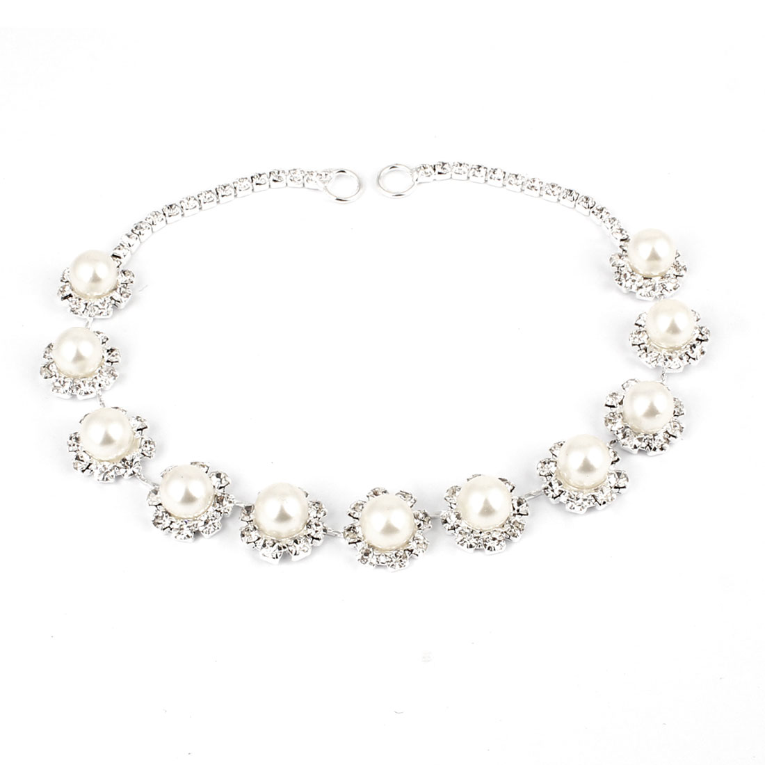 Glittery Rhinestones Inlaid Imitation Pearl Decor Hair Clip Head Chain