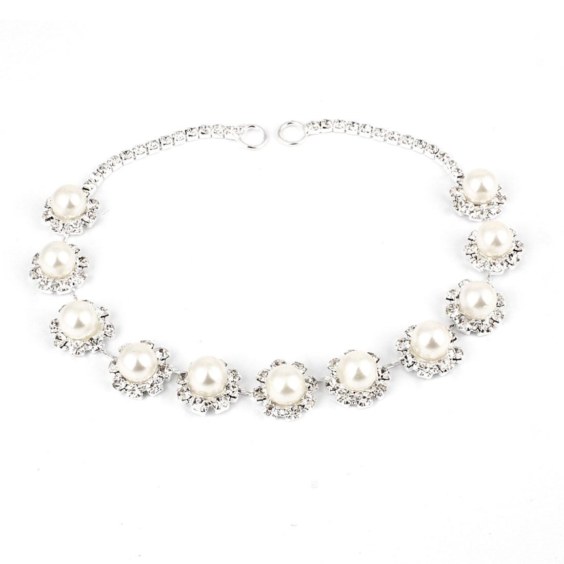 Glittery Rhinestones Inlaid Imitation Pearl Decor Hair Clip Head Chain