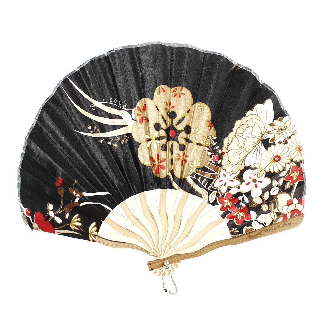 Multicolor Flower Printed Seashell Shape Folding Hand Fan for Ladies Woman