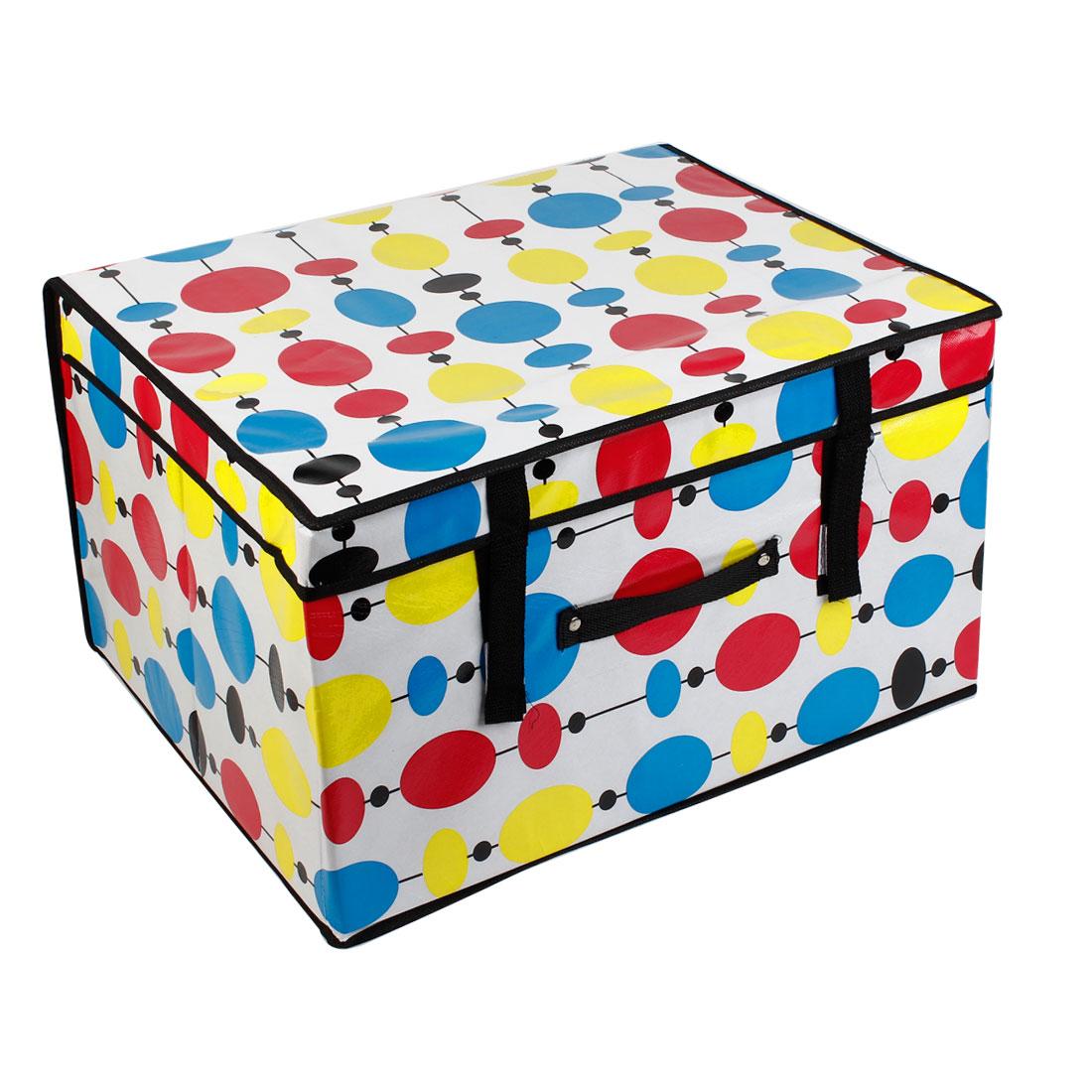 Home Multicolor Dots Pattern Nylon Foldable Storage Organizer Case
