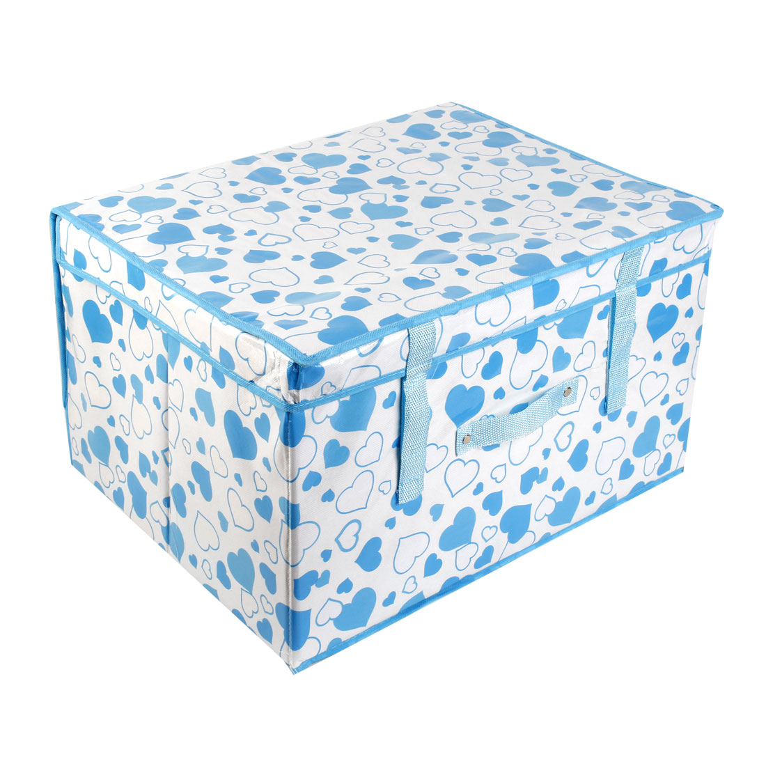 Home Heart Print Blue Nylon Foldable Storage Organizer Case Box