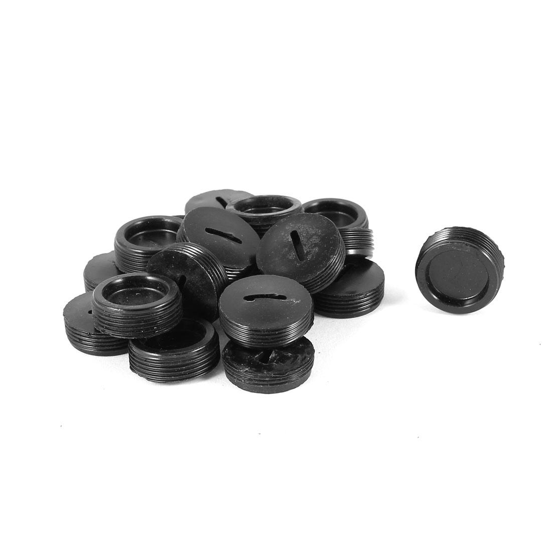 20 Pcs 7mm High 19.5mm Dia External Thread Round Black Plastic Motor Carbon Brush Holder Cap Cover