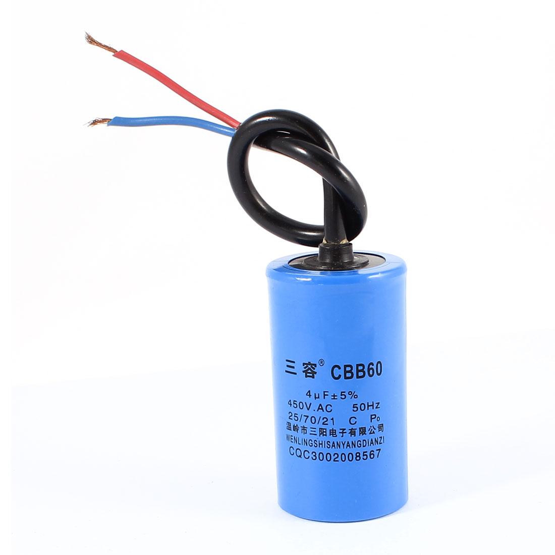CBB60 AC 450V 4uF Double Wire Leads Cylindrical Polypropylene Film Motor Start Run Capacitor Blue for Washing Machine
