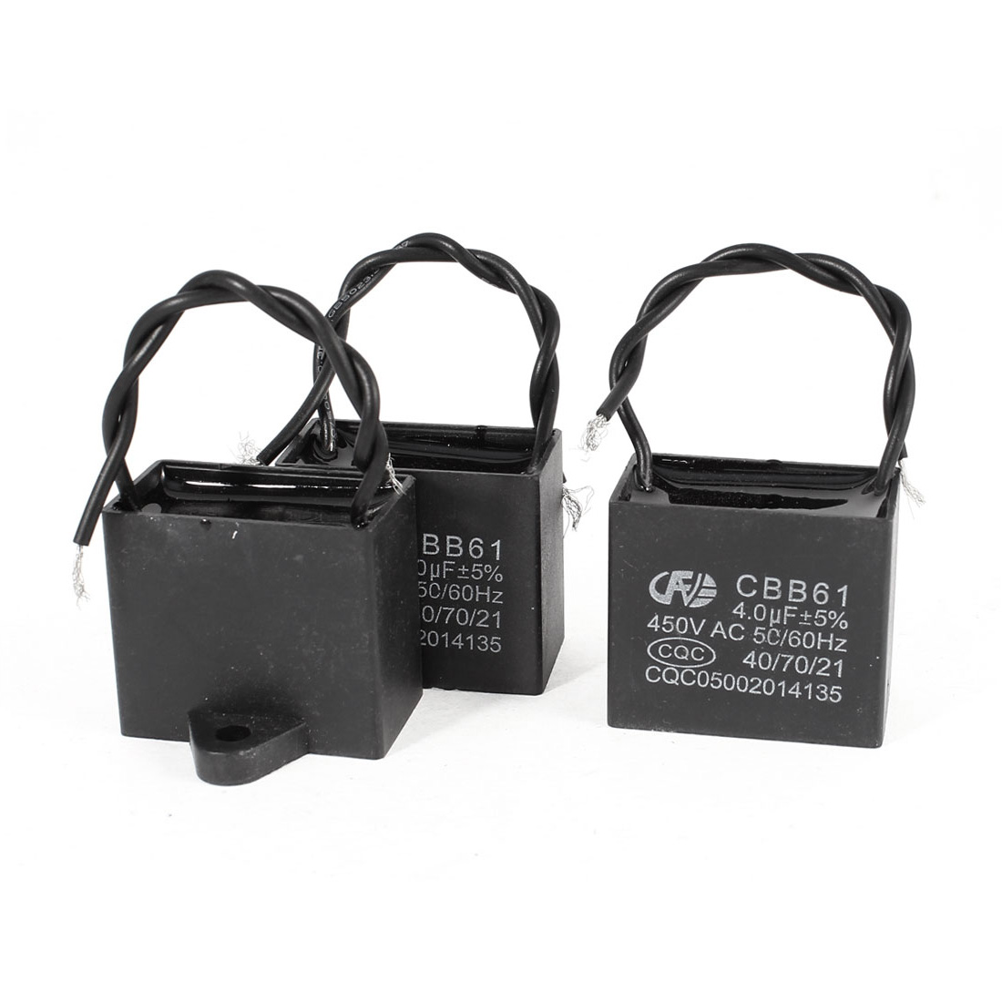 3 PCS CBB61 450V 4uF 50/60Hz Double Wire Leads Rectangle Non Polar AC Motor Run Capacitor
