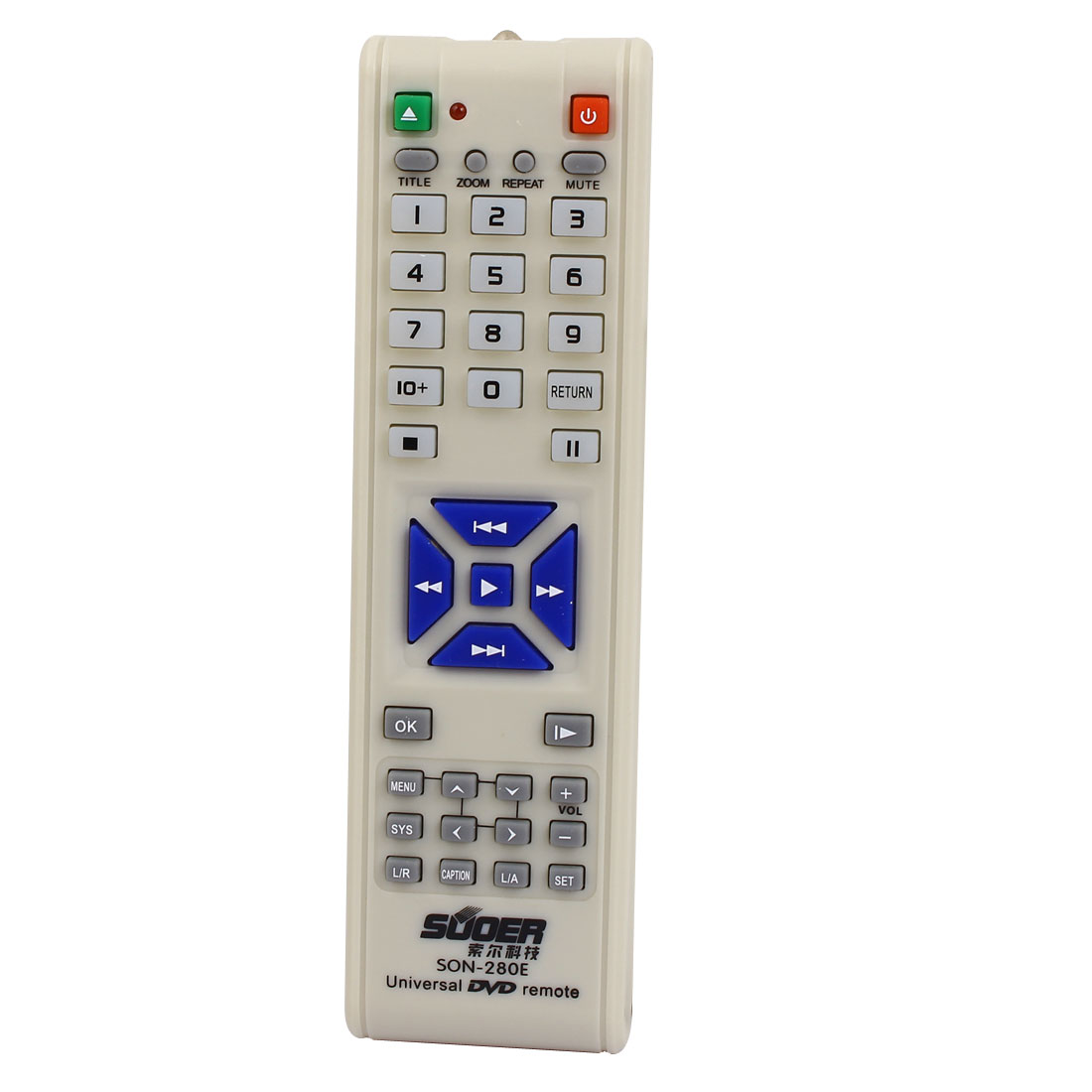 SON-280E Battery Power Plastic Shell Universal DVD Remote Control White Gray 16cm Long