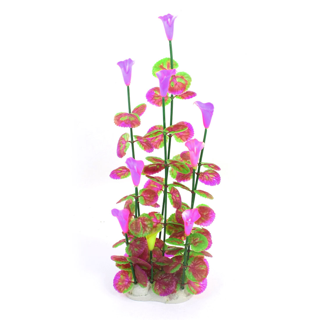 Fish Tank Aquarium Aquascaping Emulational Purple Green Pink Plastic Water Grass Plant 39cm High w Ceramic Base
