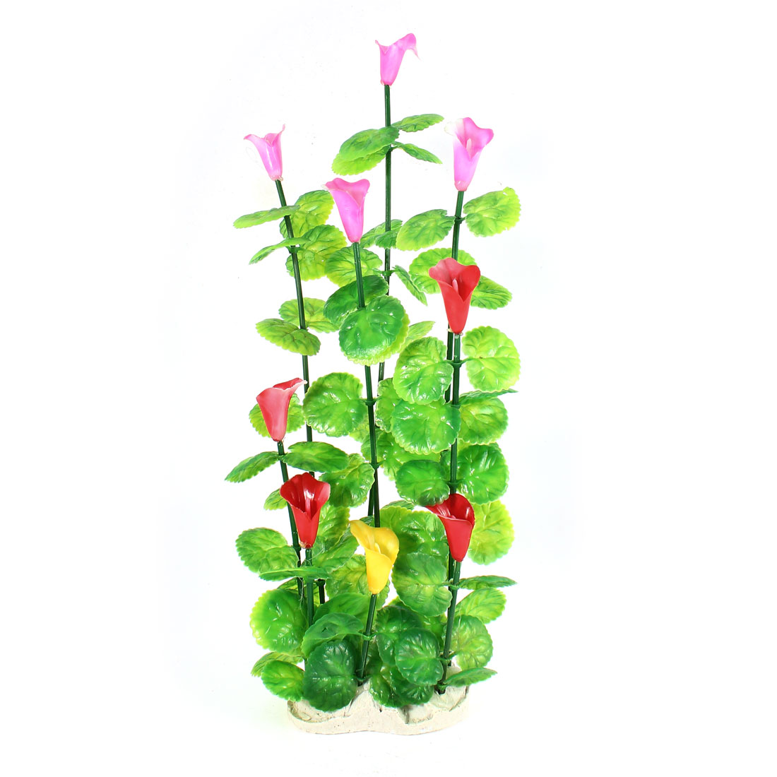 36cm High Emulational Pink Flower Green Leaves Water Plant Grass for Fish Tank Aquarium Tank Decor