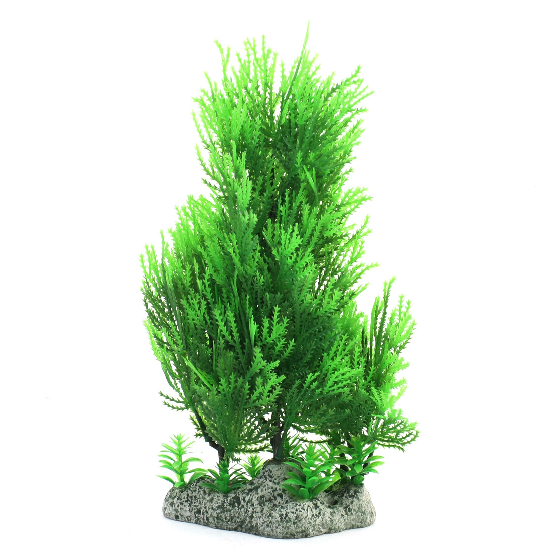 Fish Tank Aquarium 26cm High Emulational Green Plastic Water Plant Glass Decoration w Ceramic Base