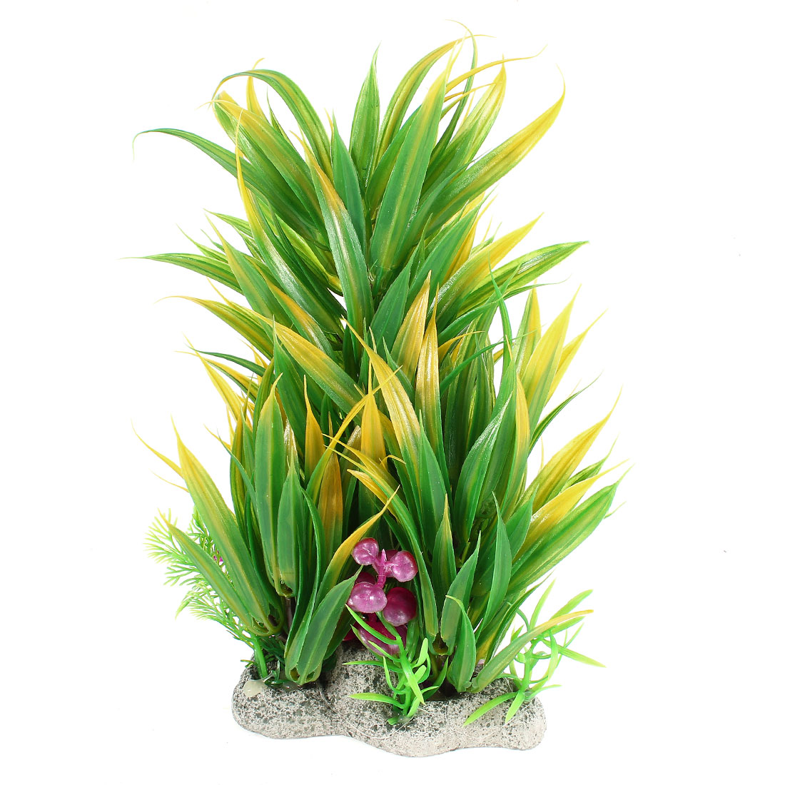 25cm High Artificial Green Yellow Leaf Underwater Plant Glass Ornament for Aquarium Tank Decor
