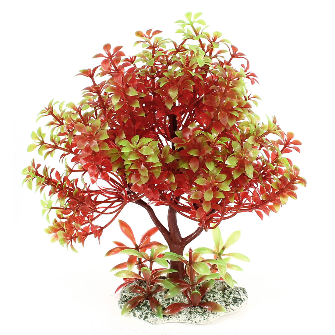 Aquarium Fish Tank Emulational Red Green Tree Shaped Water Plant Grass Decor 18cm Height w Ceramic Base