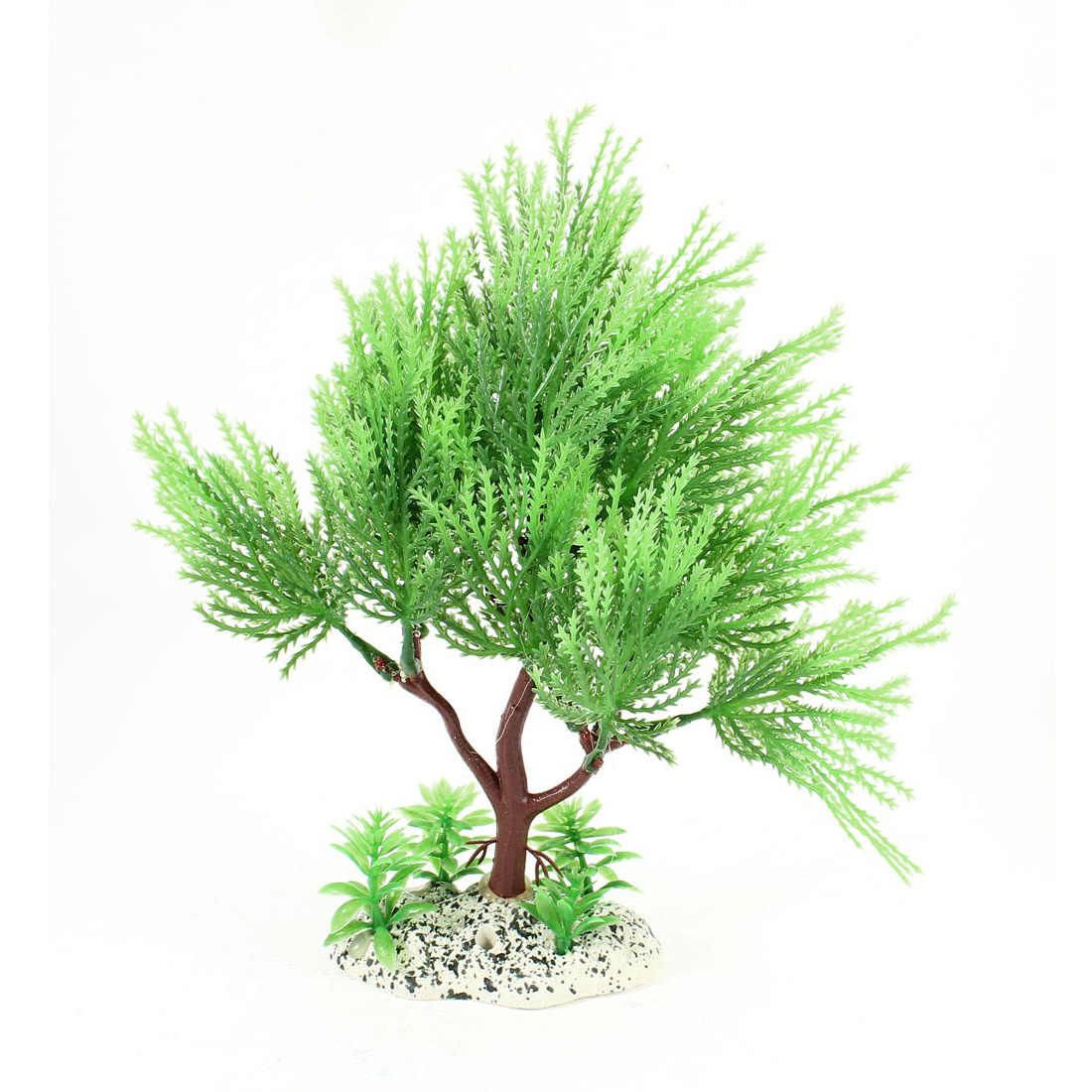 "8.5"" High Green Brown Artificial Plastic Tree Shaped Water Plant Glass for Aquarium Ornament"
