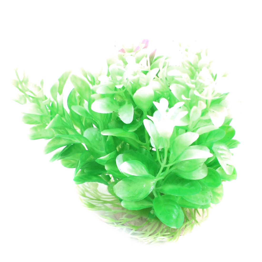 Aquarium Underwater Landscaping Green White Plastic Water Grass Plant 12cm High w Ceramic Base