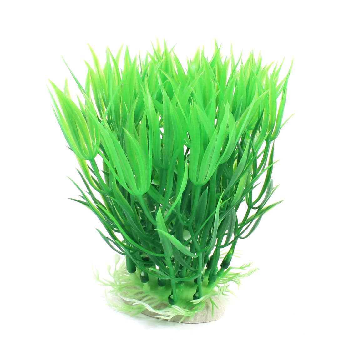 Aquarium Underwater Landscaping Green Plastic Water Grass Plant 15cm High w Ceramic Base
