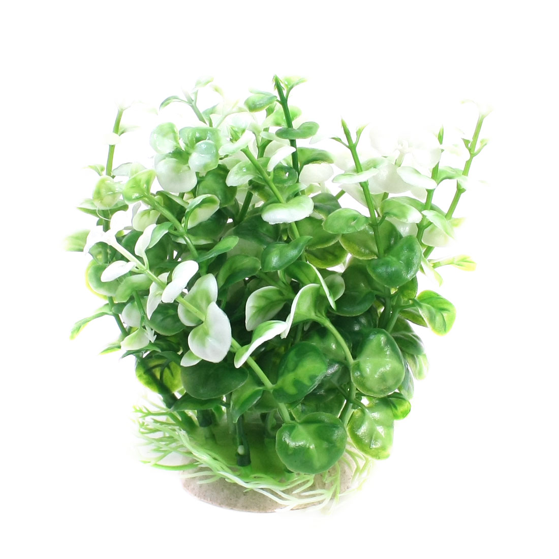 13cm High Green White Plastic Water Plant Glass for Fish Tank Aquarium Ornament