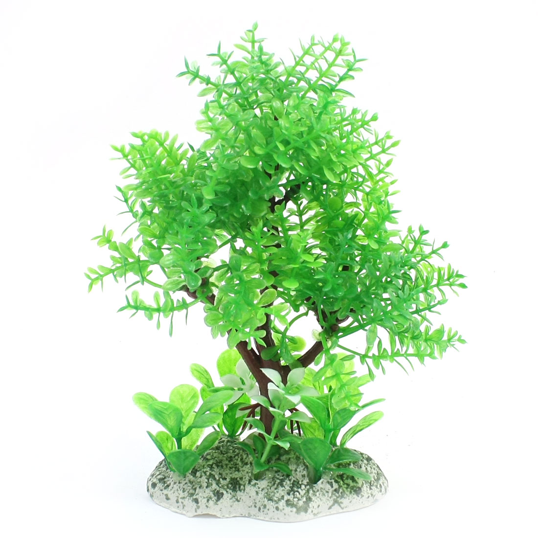 15cm High Green Brown Tree Shaped Plastic Water Plant Glass for Fishbowl Aquarium Decoration