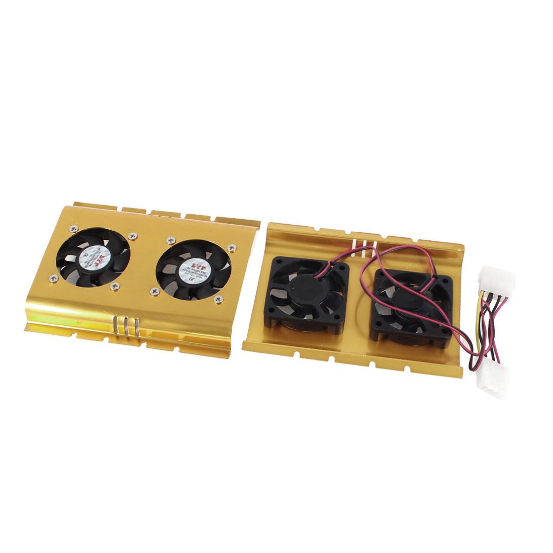 Hard Disk Drive 3.5 inch Dual Fan HDD Cooler 5000RPM 30dB Black Gold Tone 2 Pcs