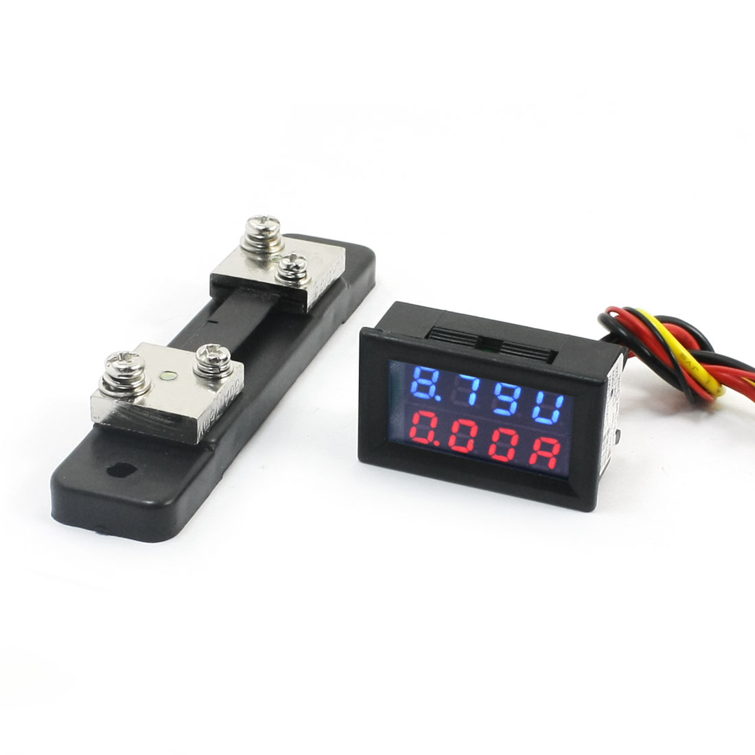 DC 0-200V 0-50A Red Blue Dual LED Digital Voltmeter Ammeter Voltage + Shunt