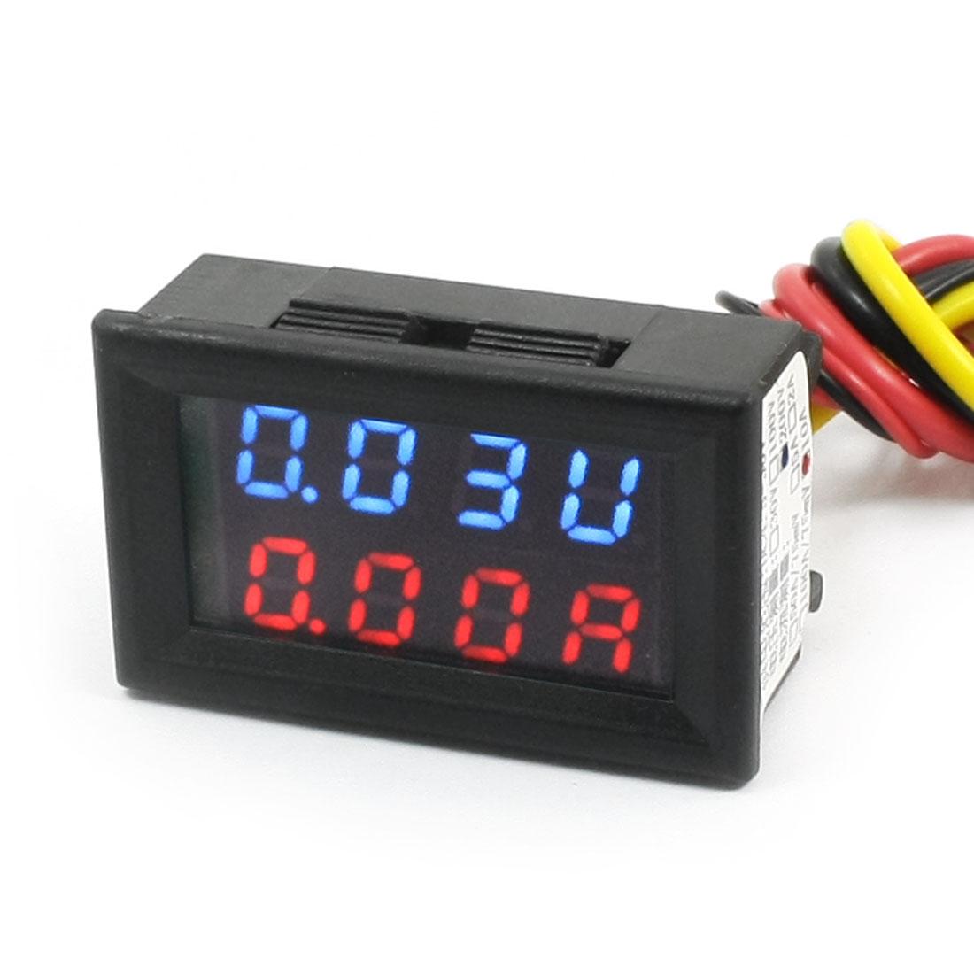 DC 0-200V 0-10A Blue Red Dual LED Digital Volt Voltmeter Ammeter Gauge