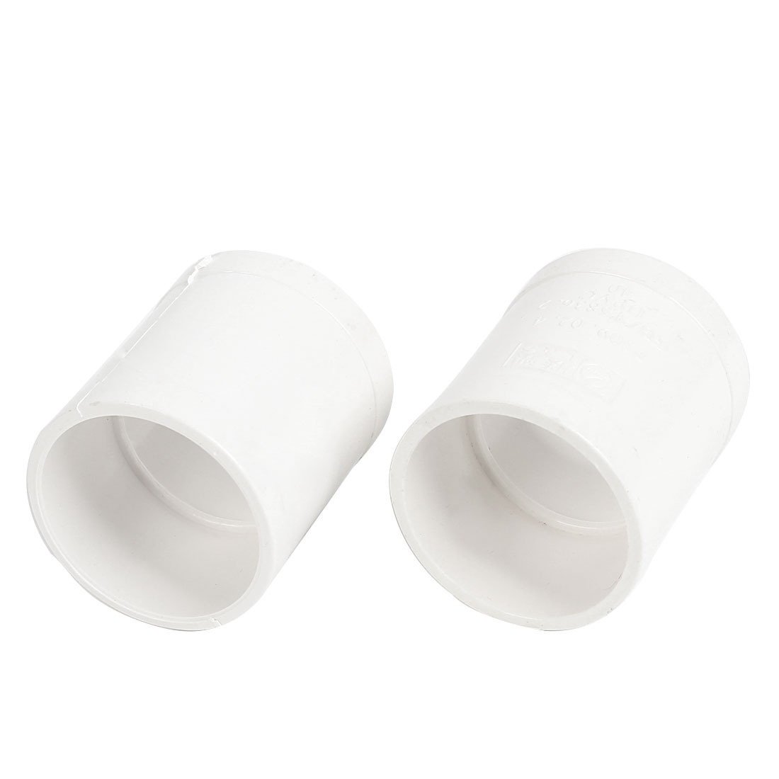 2PCS White PVC 40mm Inner Dia Straight Design Pipe Tube Connector