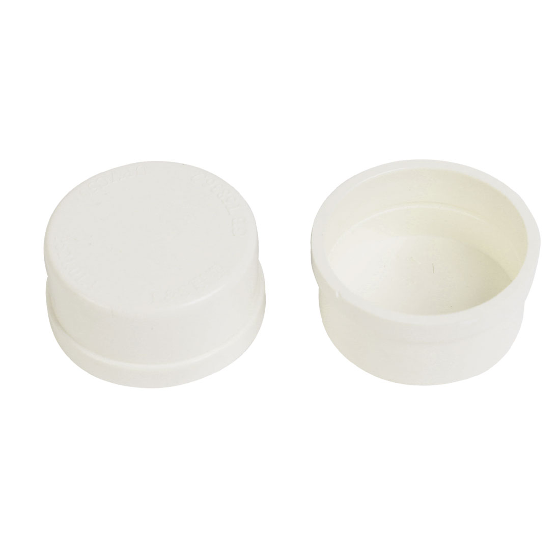 2 Pcs White Plastic 50mm Inner Dia 25mm Inside Depth End Cap Pipe Cover