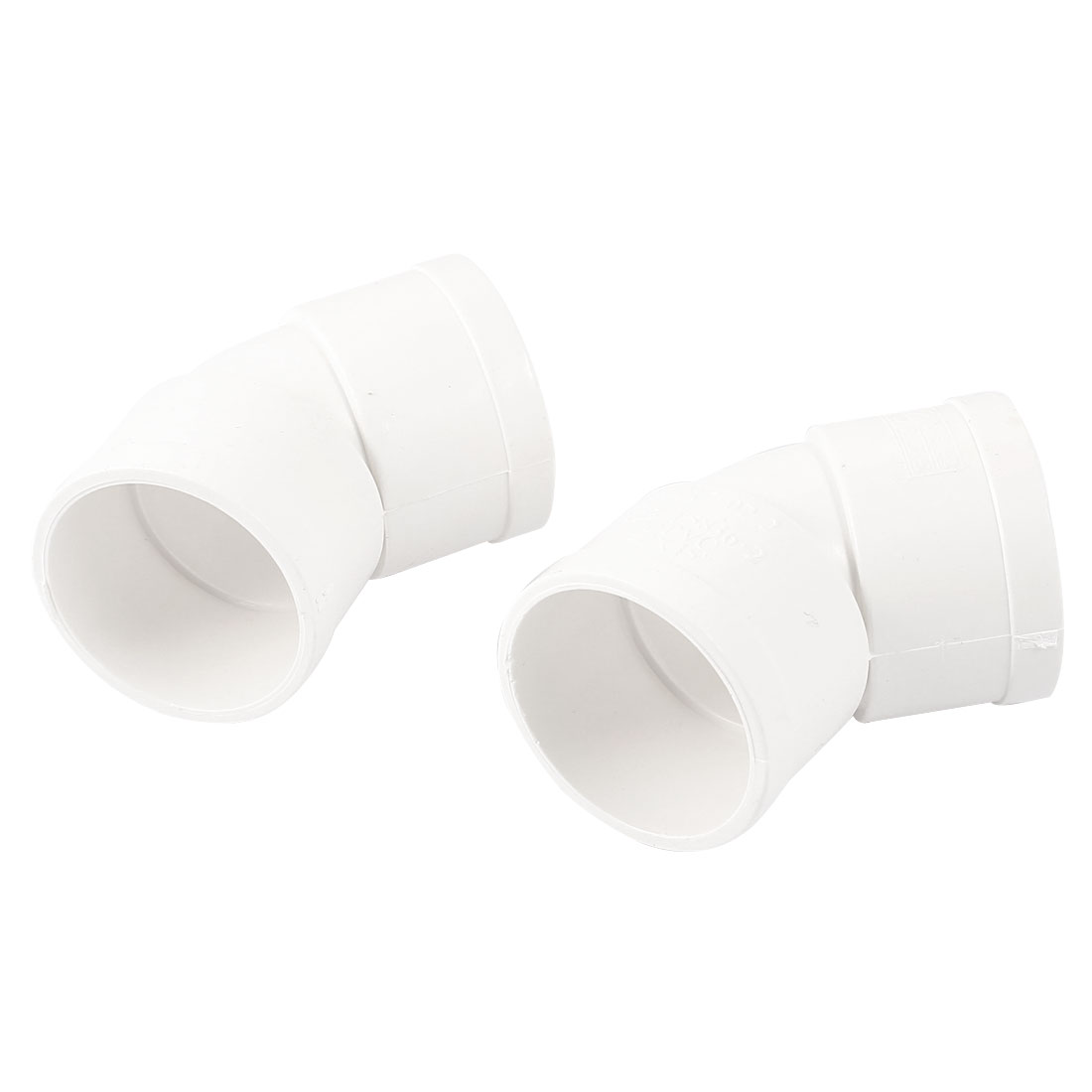 2 Pcs White PVC 40mm Inner Dia 45 Degree Design Pipe Hose Connector