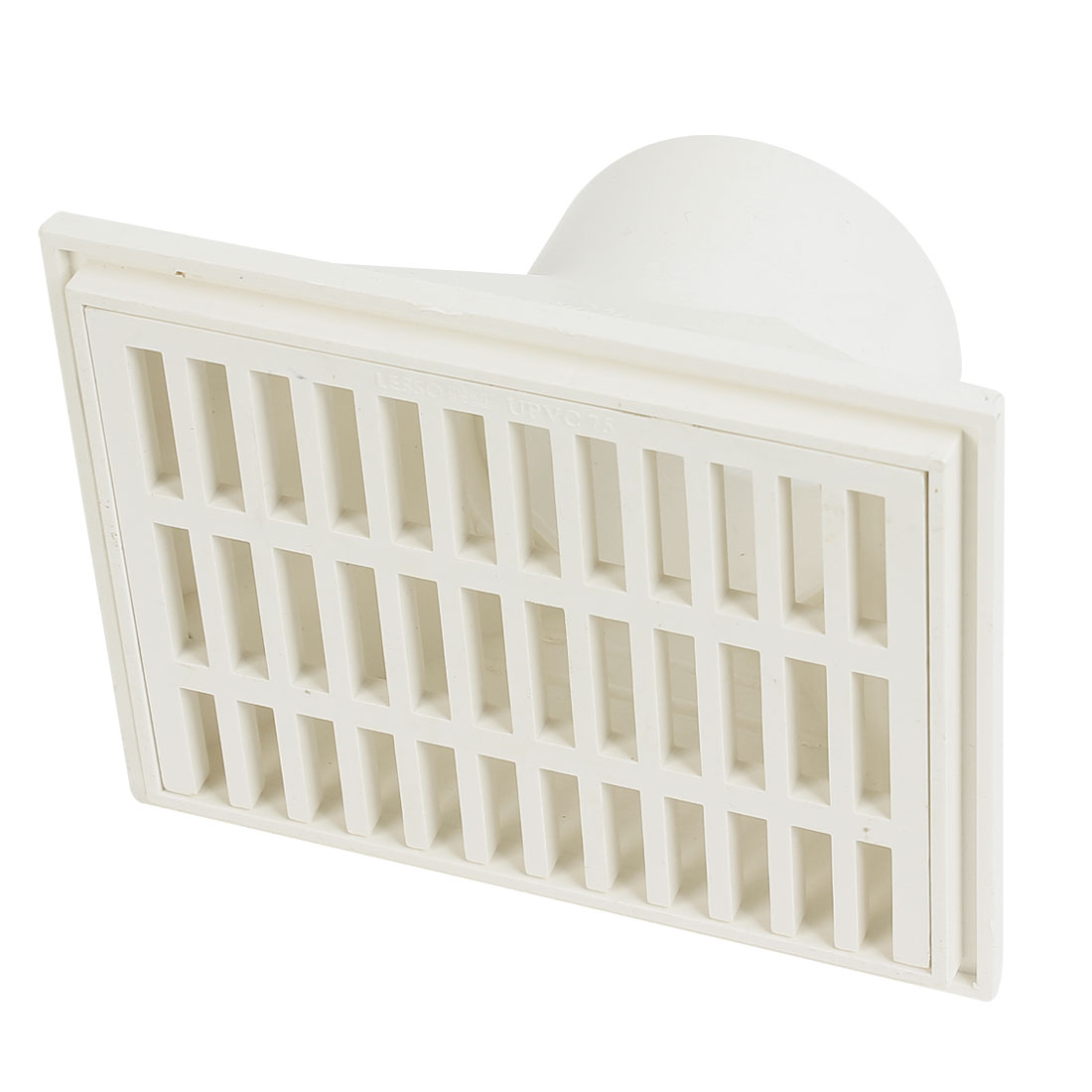 "3"" Dia Hole White PVC Wall Side Floor Drain Strainer Cover 16cm x 12.5cm"