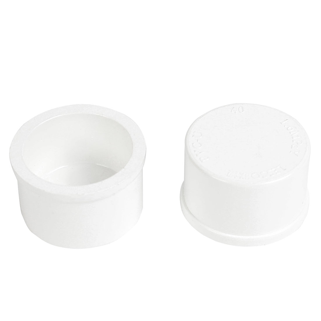 2 Pcs White Plastic 40mm Inner Dia 20mm Inside Depth End Cap Pipe Cover