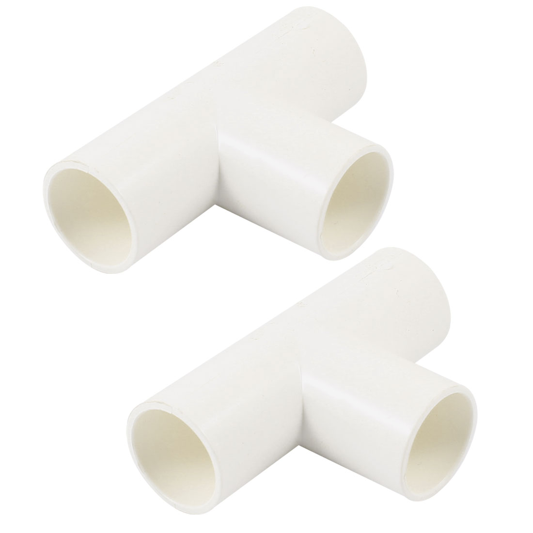 2 Pcs T Type 3 Way White PVC 20mm Inner Dia Wire Pipe Fitting Connector
