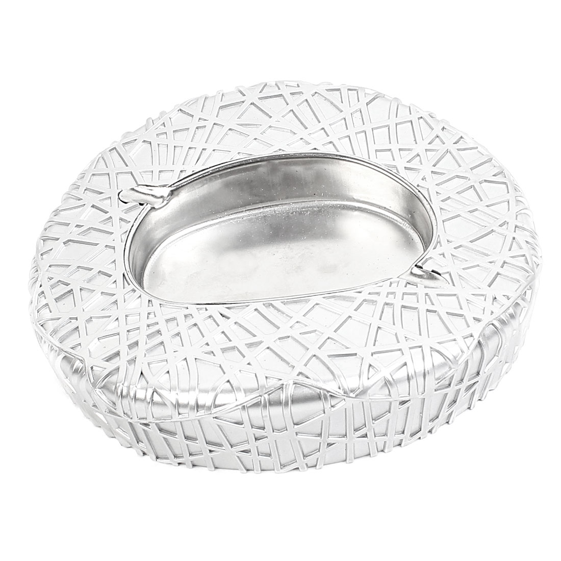 Office Home Table Decor Bird Nest Gymnasium Gym Shape Smoking Cigar Cigarette Tray Ashtray Silver Tone