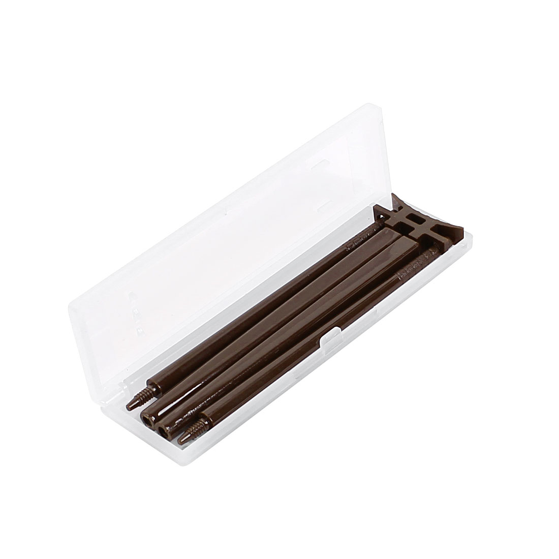 Pair Plastic Travel Japanese Style Portable Tableware Folding Chopsticks Chocolate Color w Stand Support