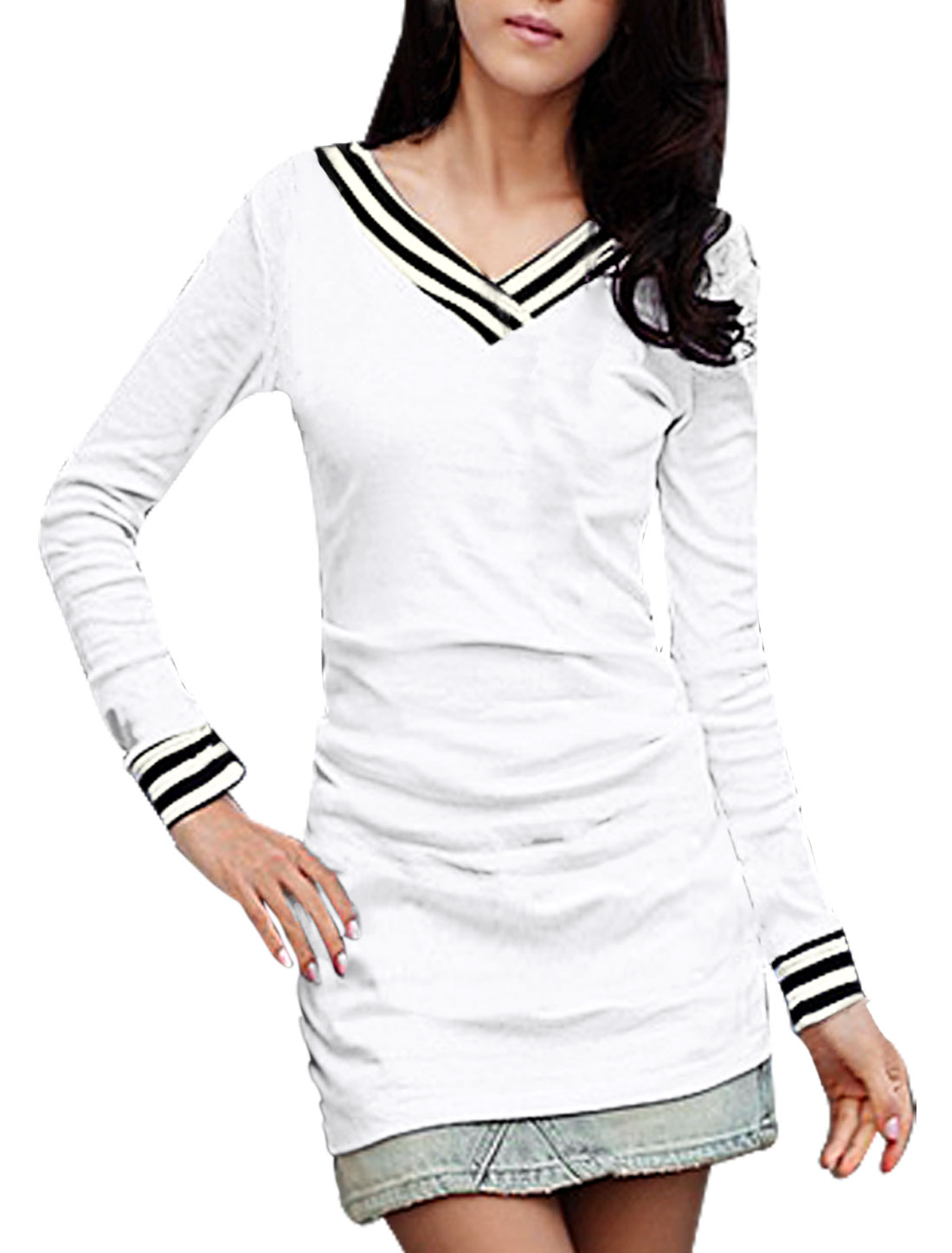 Ladies Pullover V-Neck Long Bracelet Sleeve Tunic Top White 1X