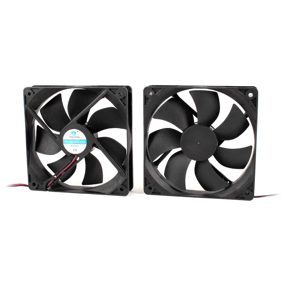 2 Pcs DC 24V 12025 120mmx120mmx25mm 2-Wire Cooling Fan Black for PC Case Cooler