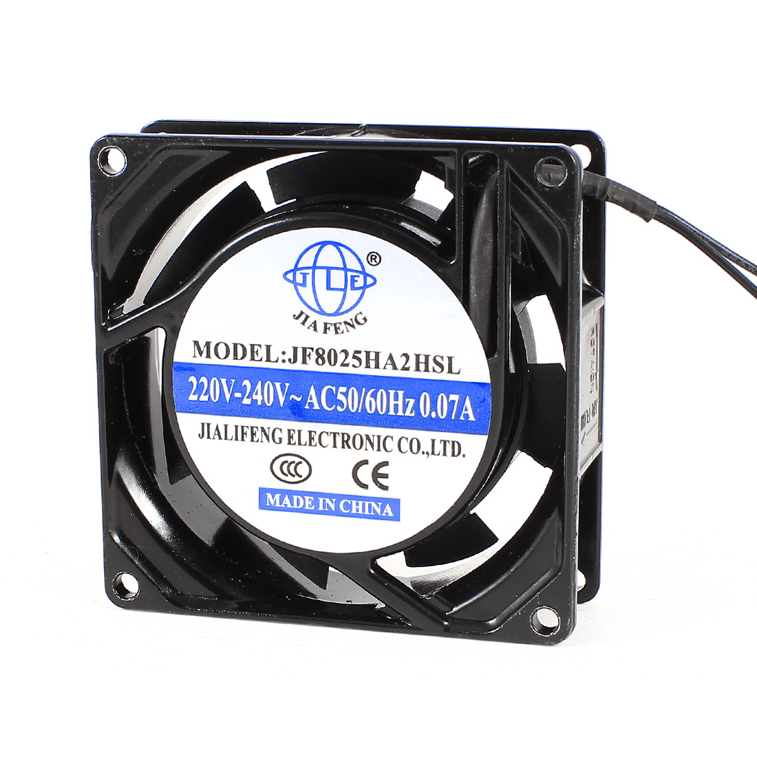 80mmx80mmx25mm Plastic Flabellums Metal Frame Cooling Fan AC 220-240V 0.07A