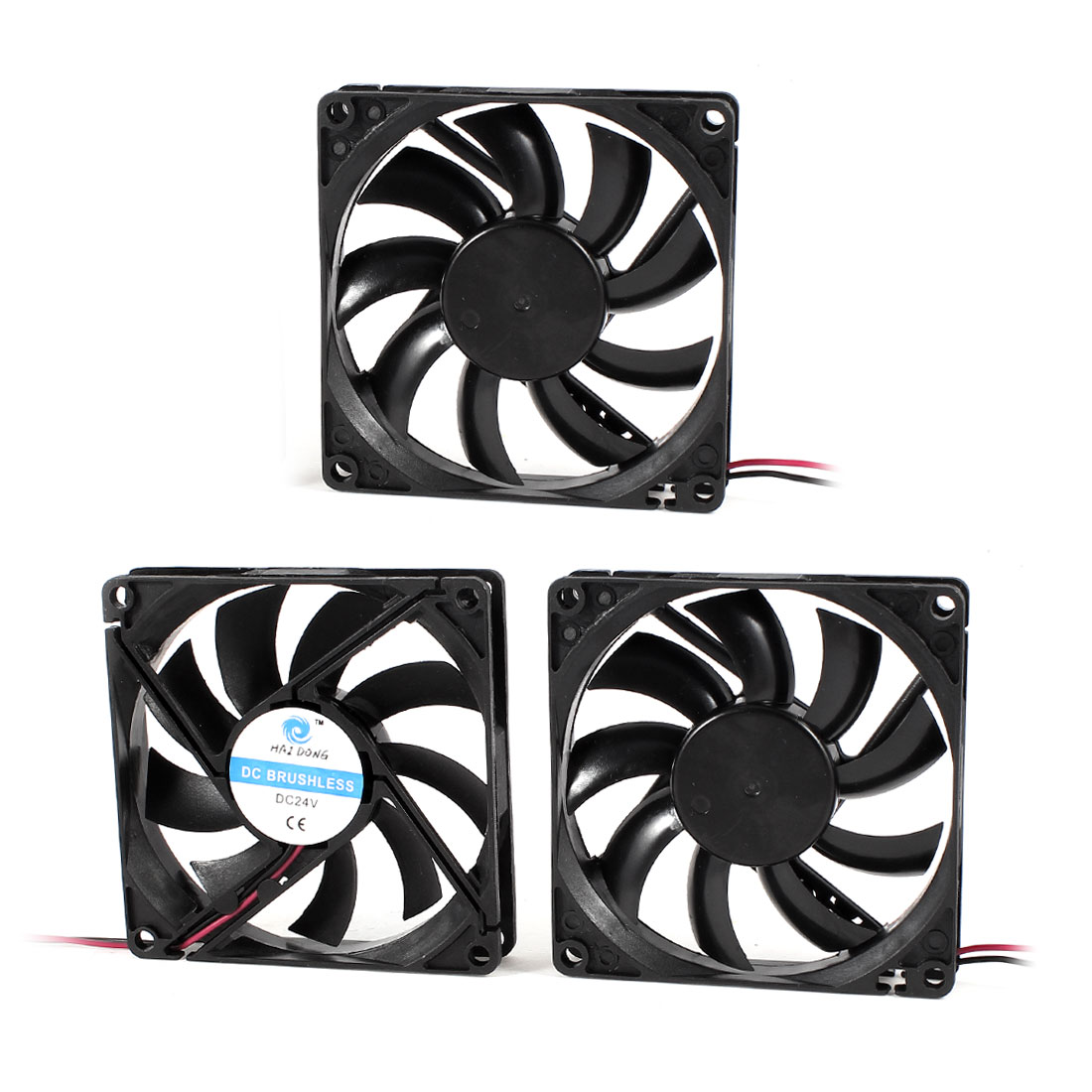 3 Pcs DC 24V 80mmx15mm 2 Wires Brushless Computer Case Cooling Fan Cooler Black