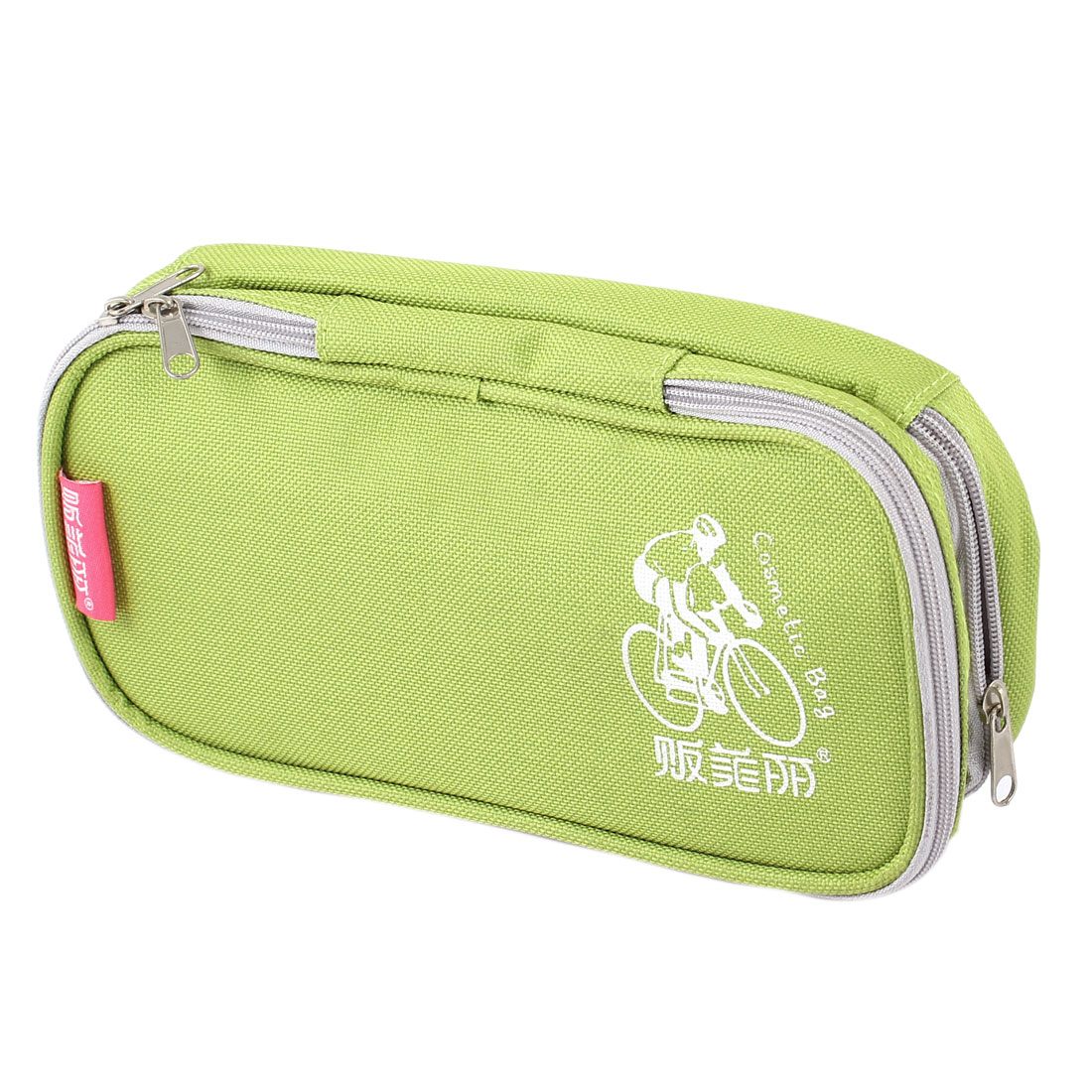Yellow Green Travel Portable Zip Up Handbag Toiletry Makeup Holder Cosmetic Bag Purse Organizer for Lady