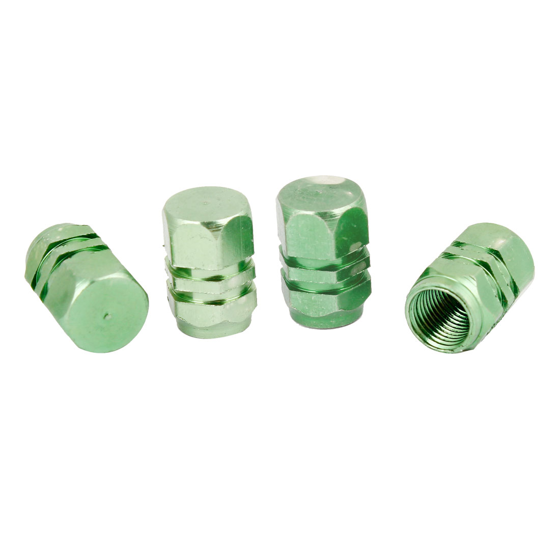4 Pcs Green Aluminum Alloy Hex Head Tyre Tire Valve Caps Cover for Car