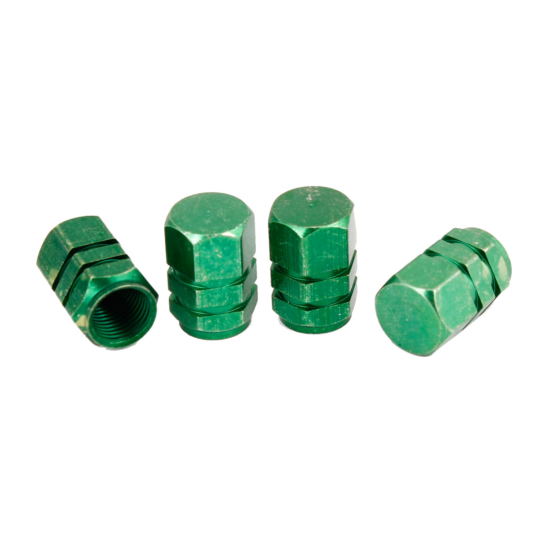 4 Pcs Green Alloy Hex Car Type Tire Wheel Stem Valve Cap 16mm x 11mm