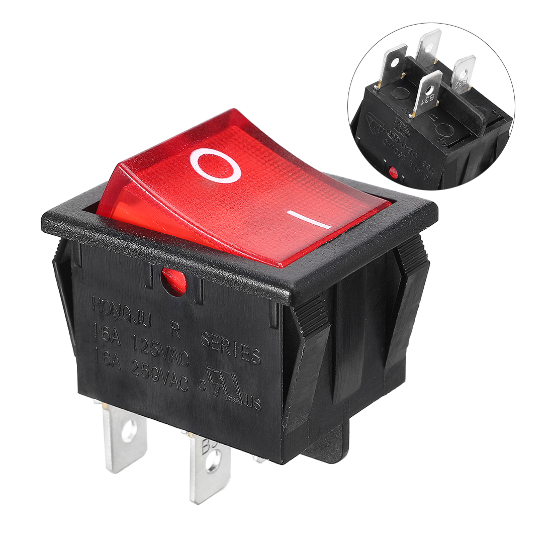 KCD4 DPST 4Pin 2 Position On/Off Rocker Switch Red Light AC 15A/250V 20A/125V