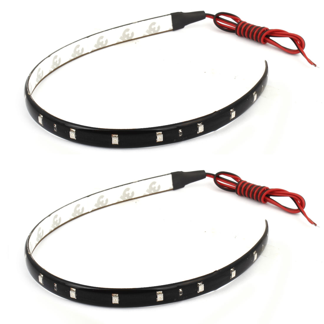 2 Pcs Car 15 Red LED SMD Flexible Waterproof Lamp Light Strip Sticker 30cm internal