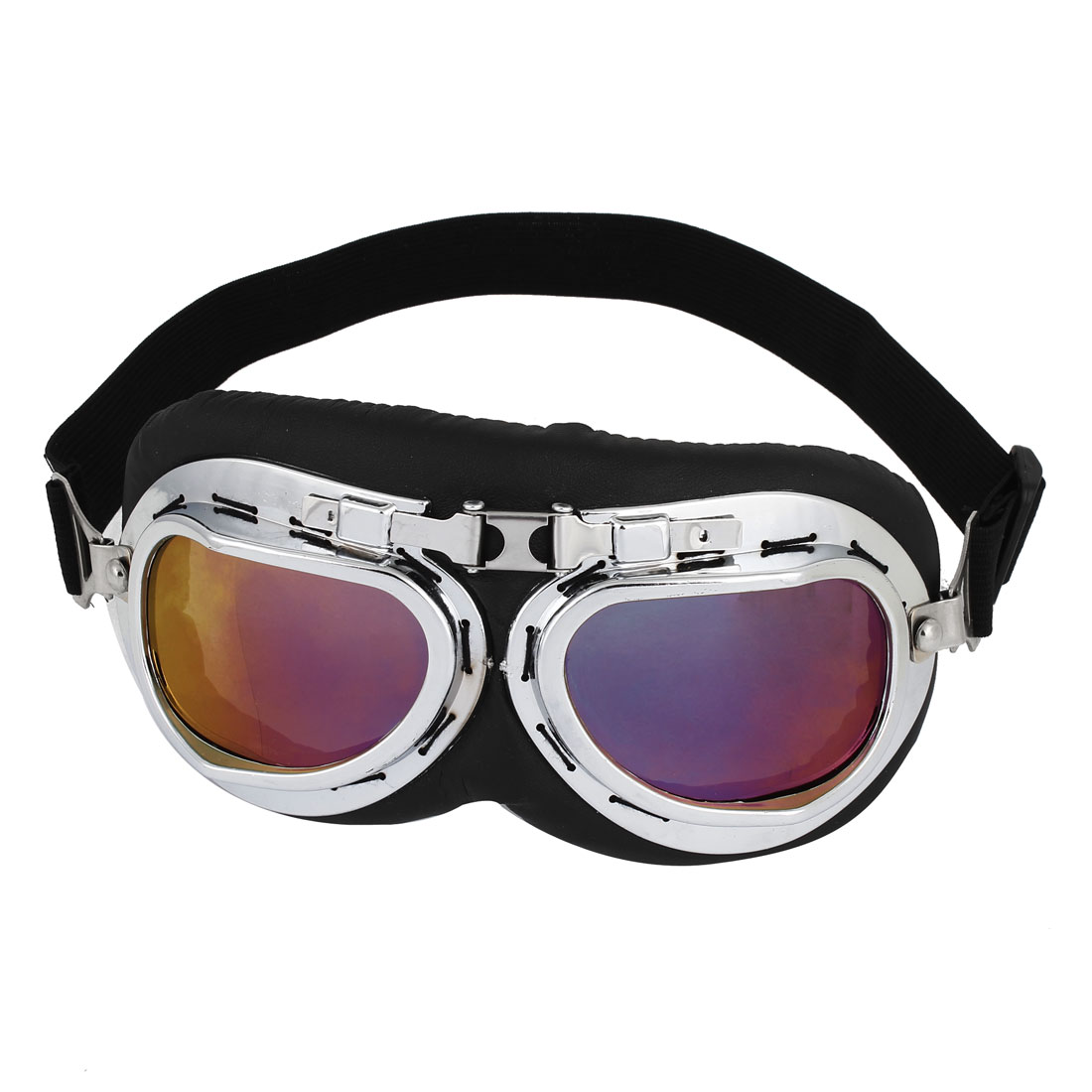 Unisex Full Frame Adjustable Strap Purple Lens Ski Motorcycle Goggles Wind Glasses