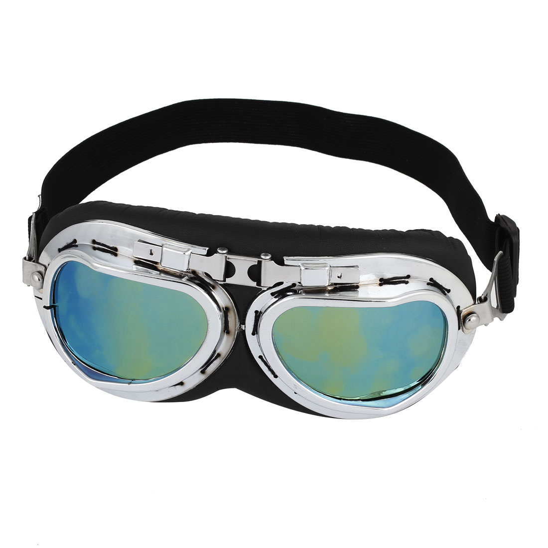 Motorcycle Bicycling Full Frame Adjustable Elastic Strap Colored Lens Goggles Glasses Sunglasses