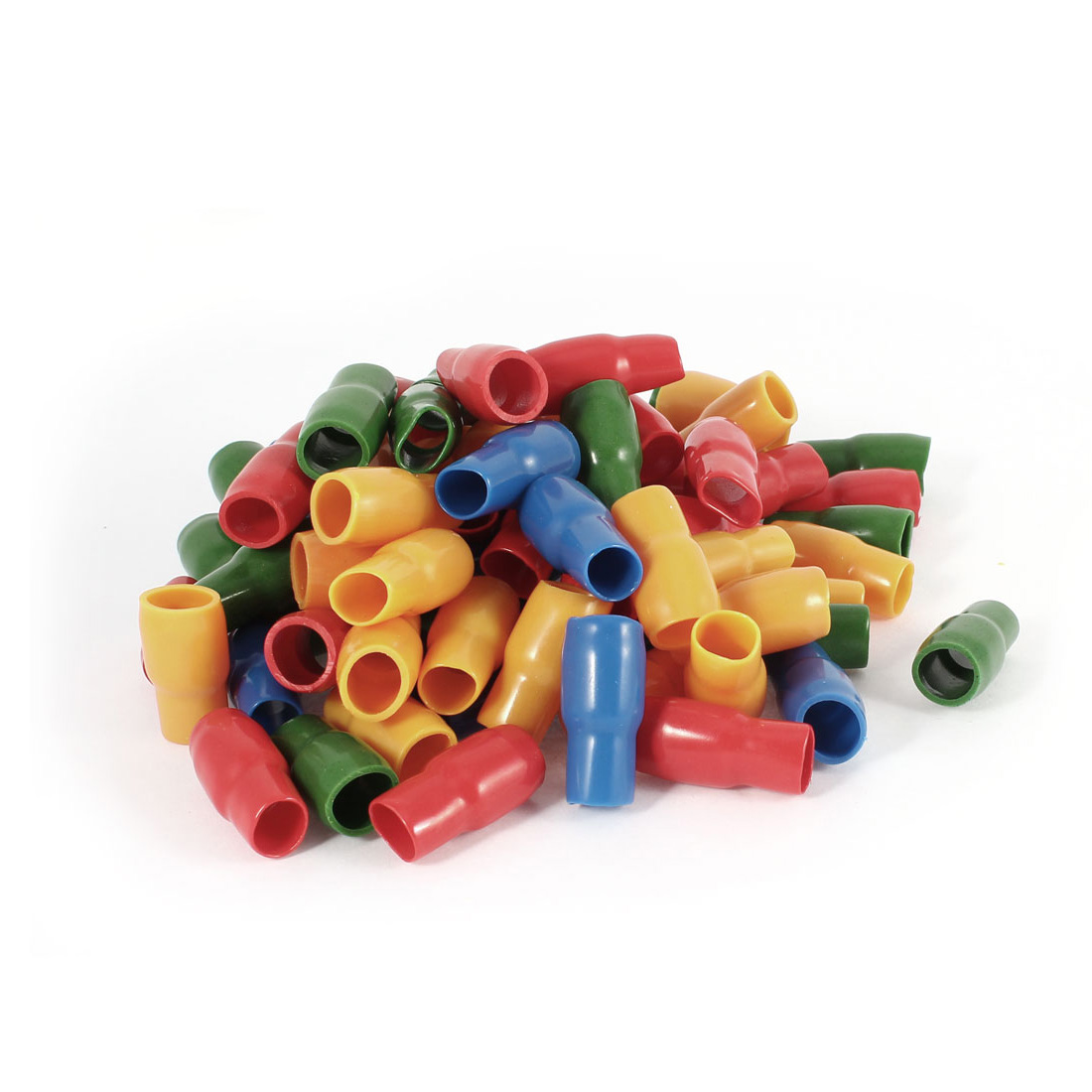80 Pcs Soft PVC Wire V-22 25mm2 Crimp Terminal End Insulated Sleeves Cover Green Red Blue Orange